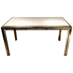 Romeo Rega, Brass and Marble-Top Midcentury Table Console, Italy, 1970