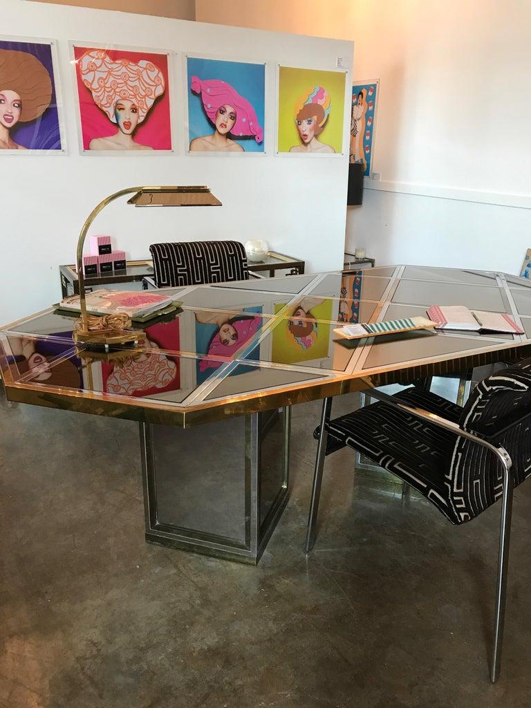 Romeo Rega Brass, Chrome & Cut Glass Mirror Harlequin Style Dining Table / Desk For Sale 6