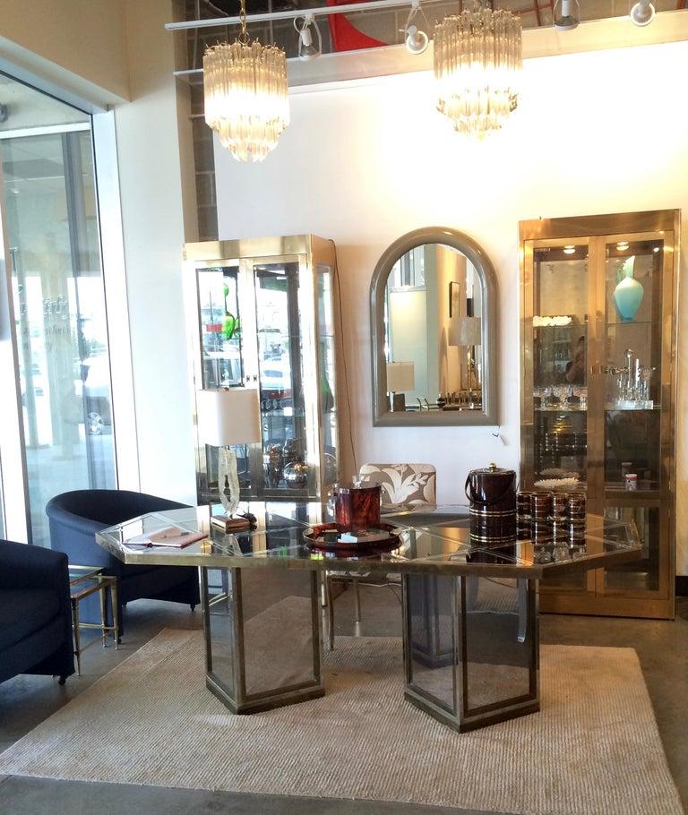 Romeo Rega Brass, Chrome & Cut Glass Mirror Harlequin Style Dining Table / Desk For Sale 7