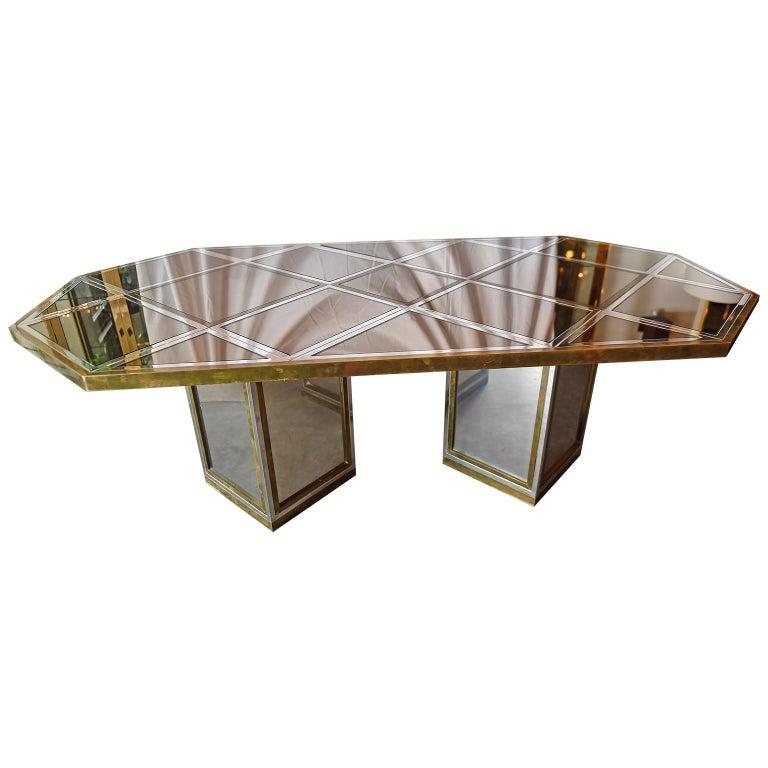 Modern Romeo Rega Brass, Chrome & Cut Glass Mirror Harlequin Style Dining Table / Desk For Sale