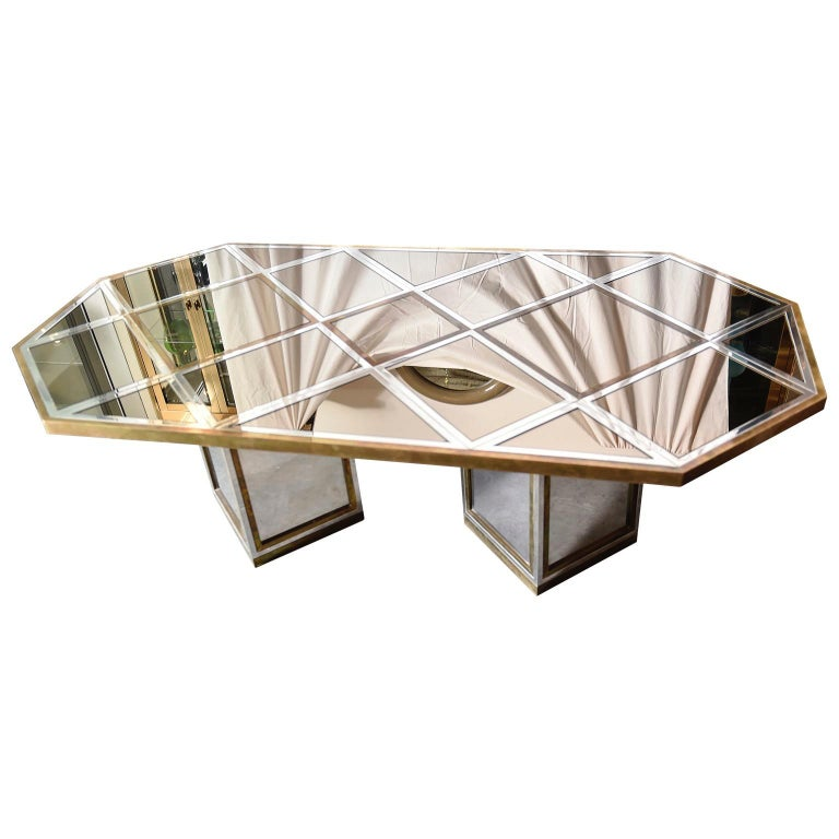 Romeo Rega Brass, Chrome & Cut Glass Mirror Harlequin Style Dining Table / Desk In Good Condition For Sale In Houston, TX