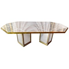 Romeo Rega Brass, Chrome & Cut Glass Mirror Harlequin Style Dining Table / Desk