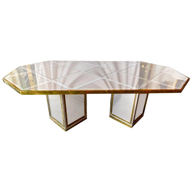 Romeo Rega Brass, Chrome & Cut Glass Mirror Harlequin Style Dining Table / Desk For Sale