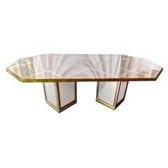 Romeo Rega Brass, Chrome & Cut Glass Mirror Harlequin Style Dining Table / Desk