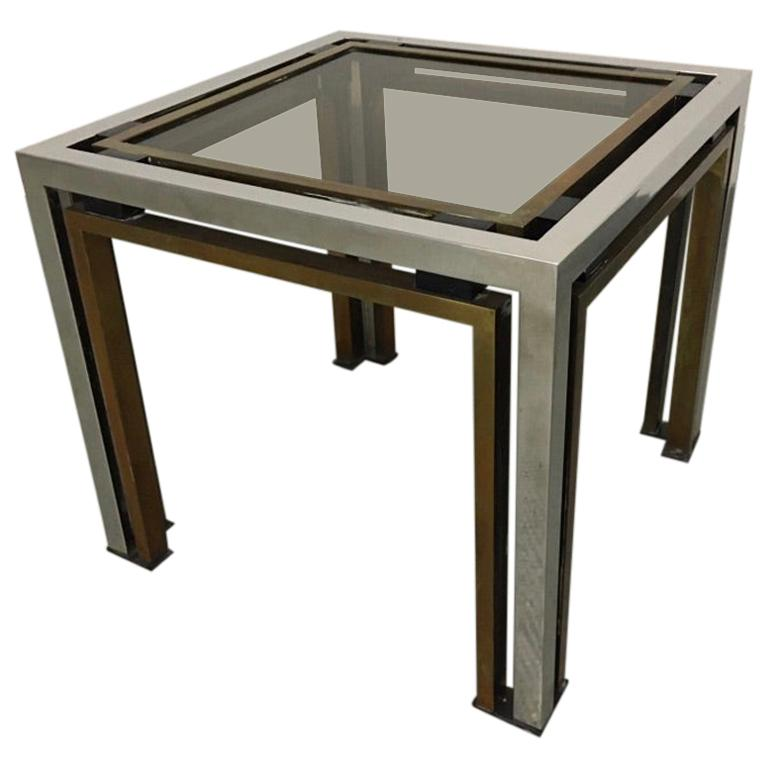 Romeo Rega Brass, Chrome and Tinted Glass Side Table, Italy, 1970s