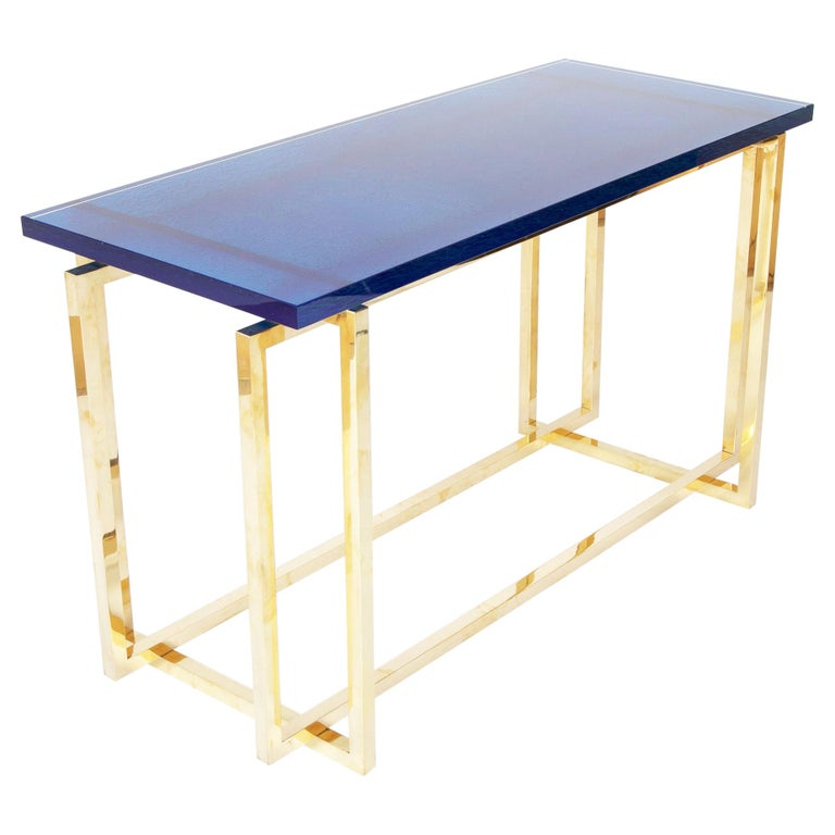 Romeo Rega Brass Console Table with Custom Top For Sale