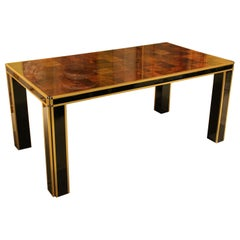 Romeo Rega, Burl Walnut Wood, Black Laminated Wood and Brass Dining Table 1970s