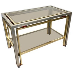 Romeo Rega Cart Table in Chrome, Lucite and Brass, Italy, 1970s