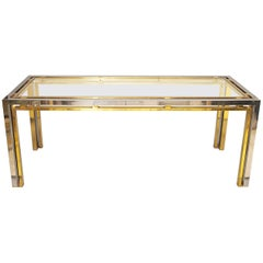 Romeo Rega Chrome and Brass with Glass Console Table, Desk or Sofa Table, 1970s