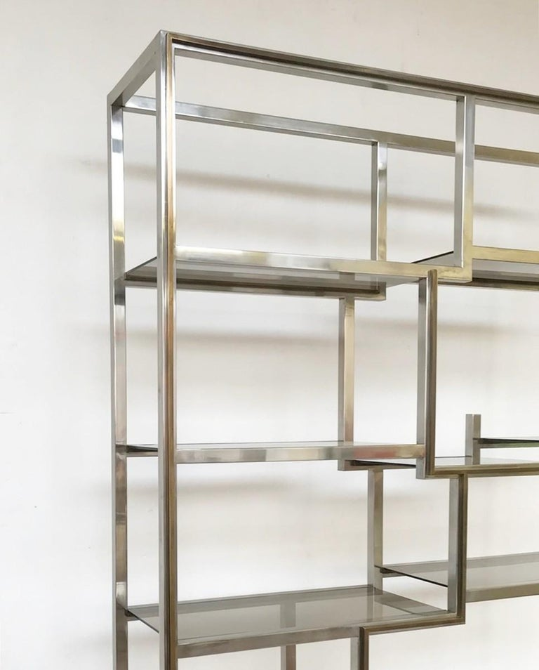 Romeo Rega chrome and brass shelf, smoked glass, Italy, circa 1970.