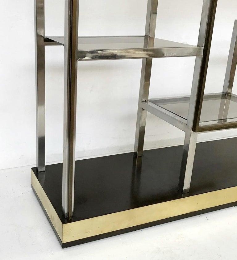 Mid-Century Modern Romeo Rega Chrome and Brass Shelf, Smoked Glass, Italy, circa 1970 For Sale