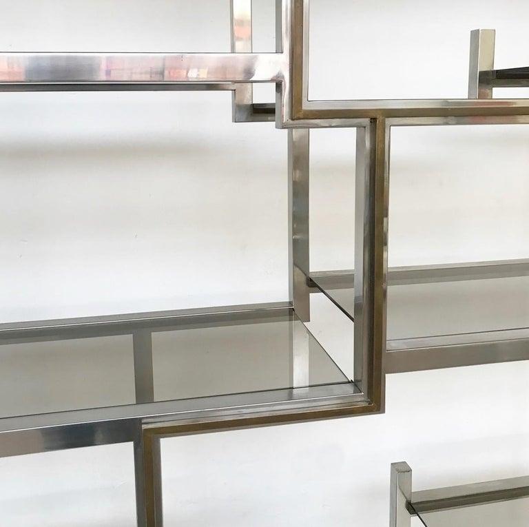 Italian Romeo Rega Chrome and Brass Shelf, Smoked Glass, Italy, circa 1970 For Sale