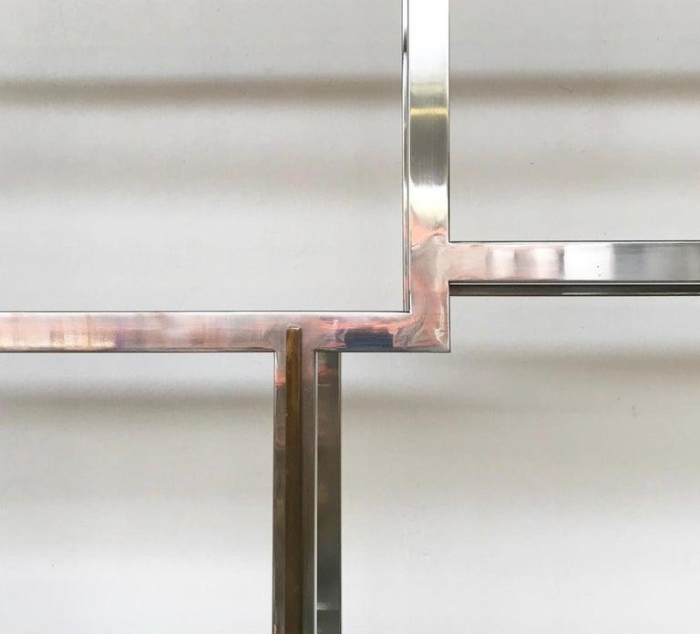 Romeo Rega Chrome and Brass Shelf, Smoked Glass, Italy, circa 1970 For Sale 1