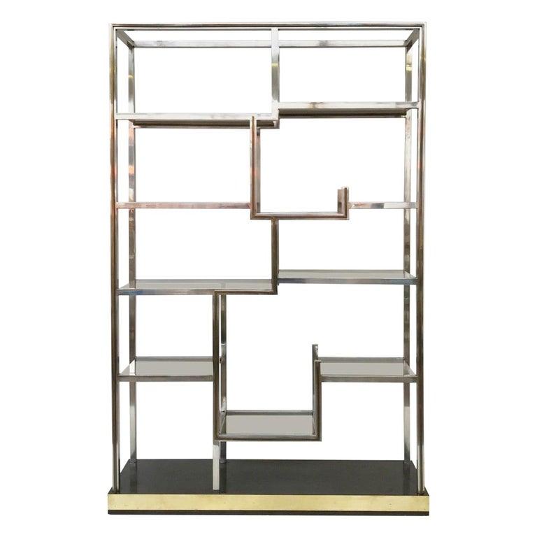 Romeo Rega Chrome and Brass Shelf, Smoked Glass, Italy, circa 1970 For Sale