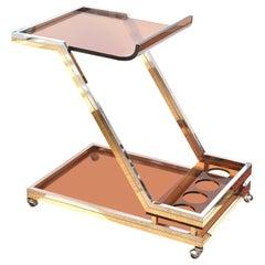 Romeo Rega Chrome, Brass and Lucite Bar Cart or Trolley, Italian