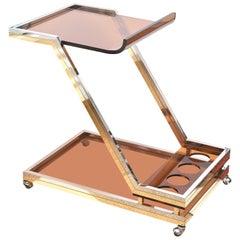 Romeo Rega Chrome, Brass and Lucite Bar Cart Trolley, Italian