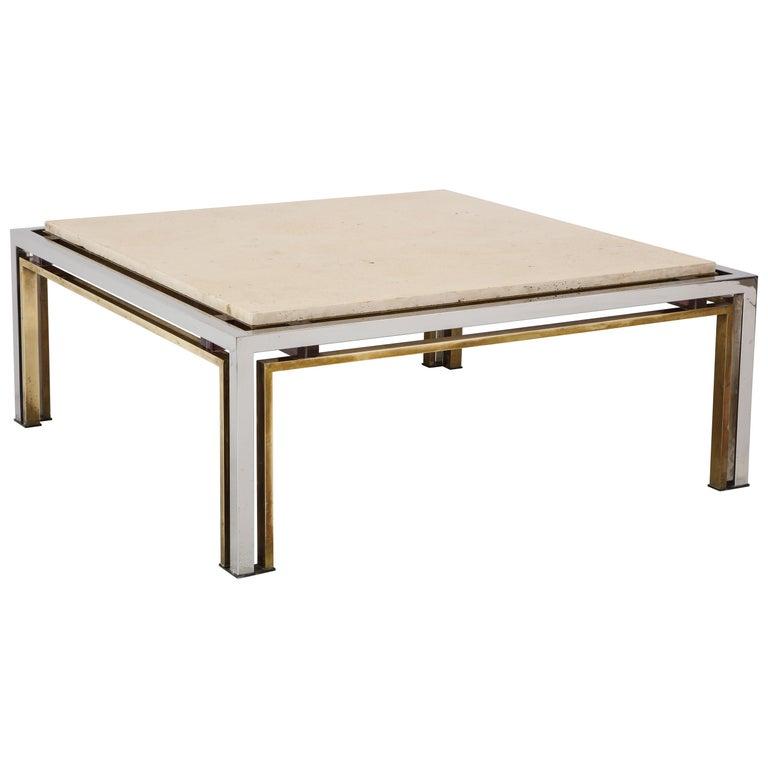 Romeo Rega Chrome Brass And Travertine Top Square Coffee Table At