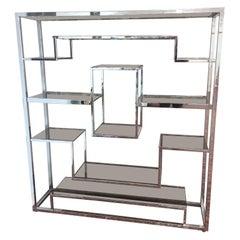 Romeo Rega Chrome and Glass Étagère Shelf or Room Divider, 1970s