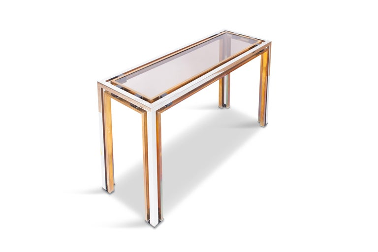 Hollywood Regency Romeo Rega Console Table in Brass and Chrome For Sale