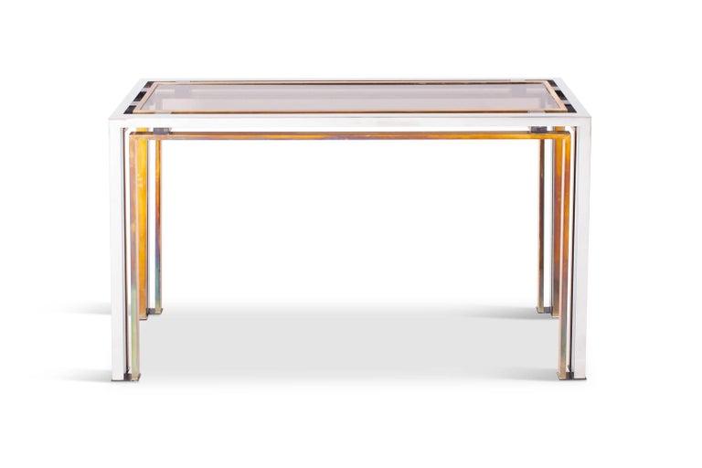 Italian Romeo Rega Console Table in Brass and Chrome For Sale