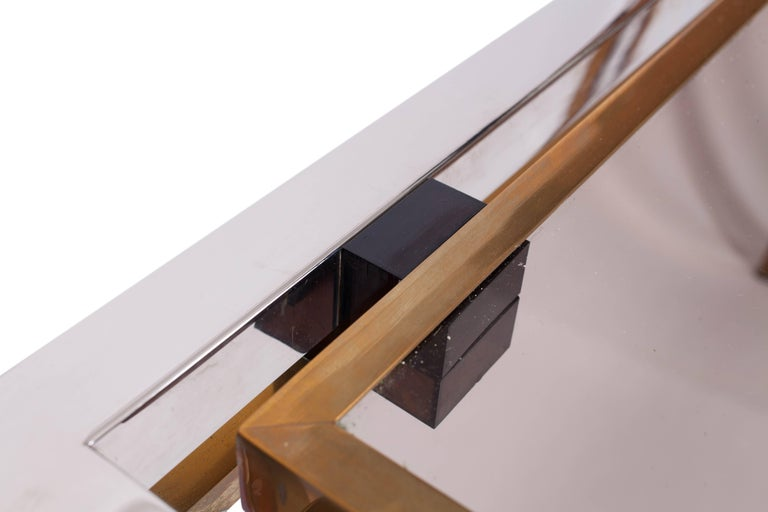 Late 20th Century Romeo Rega Console Table in Brass and Chrome For Sale