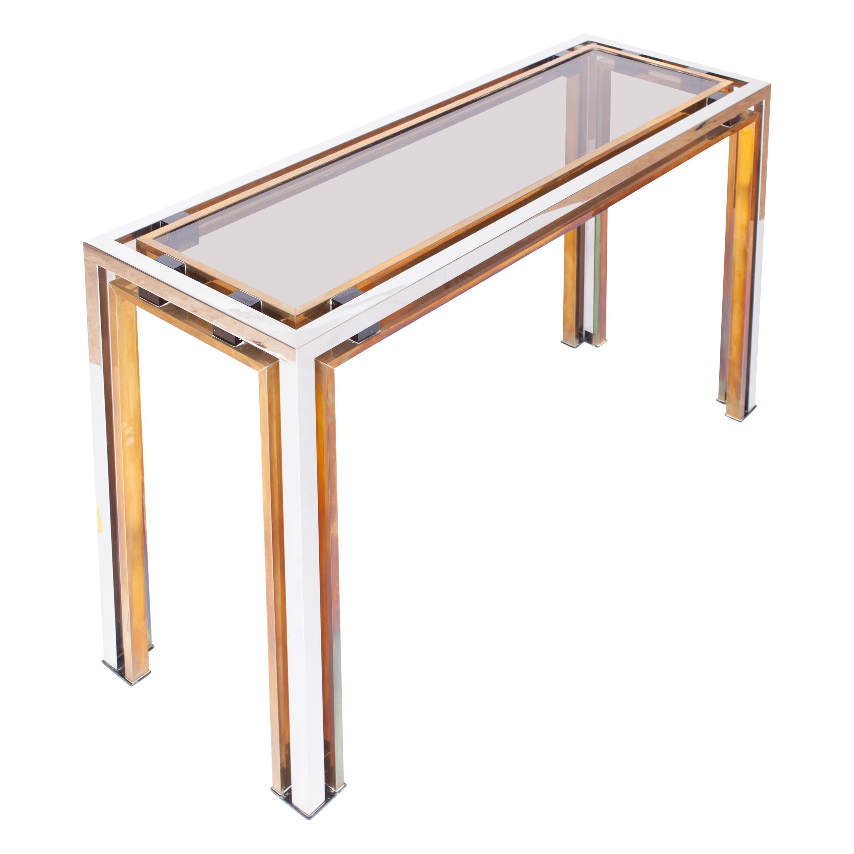 Romeo Rega Console Table in Brass and Chrome