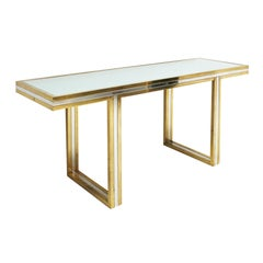 Romeo Rega Console Table in Brass and Chrome, Italy, 1970