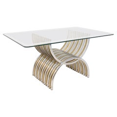 Romeo Rega Dining Table in Chromed and Brassed Steel with Glass