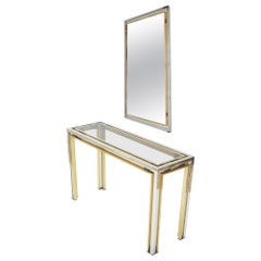 Romeo Rega, Glass, Brass and Chrome Console Table with Matching Mirror, 1970s