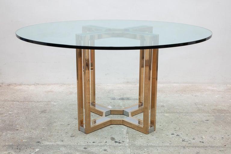 Italian Romeo Rega Gold and Chrome Round Glass Top Centre Table For Sale