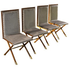 Romeo Rega in the Manner Midcentury Italian Chairs with Brass Fittings
