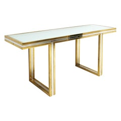 Romeo Rega in the Style of Midcentury Brass and Chrome Italian Console Table