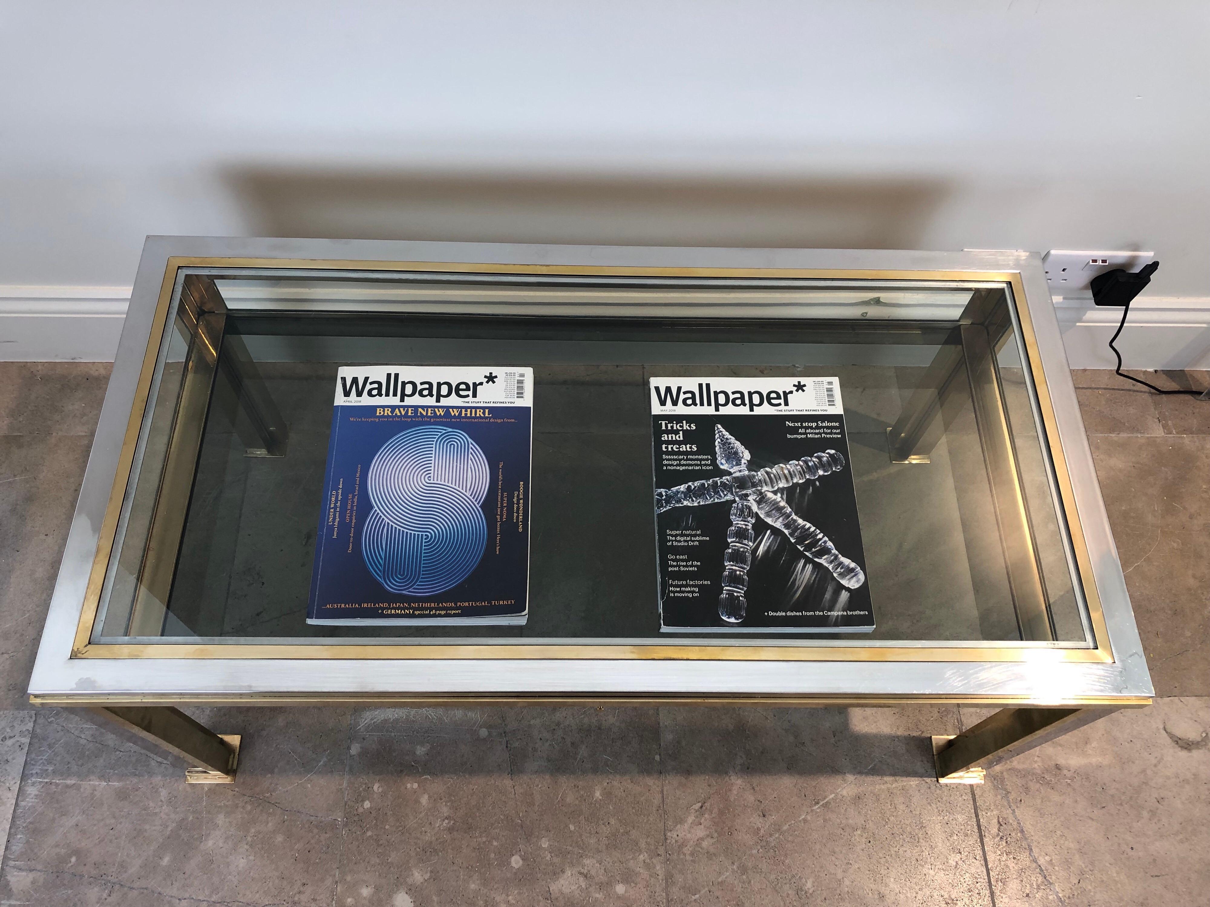 Miraculous Romeo Rega Italian 1970S Chrome And Brass Vitrine Coffee Table Interior Design Ideas Philsoteloinfo