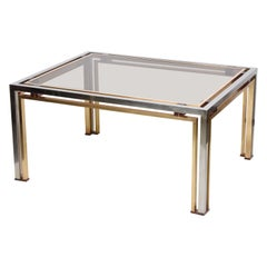 Romeo Rega Italian Coffee Table in Brass and Chrome Smoked Glass Lucite 1970s
