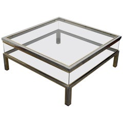 Romeo Rega Italian Brass Chrome and Glass Coffee Table, 1970s