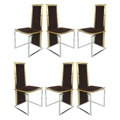 Romeo Rega Italian Brass/Stainless Steel Dining Chairs, Set of Six circa 1970s