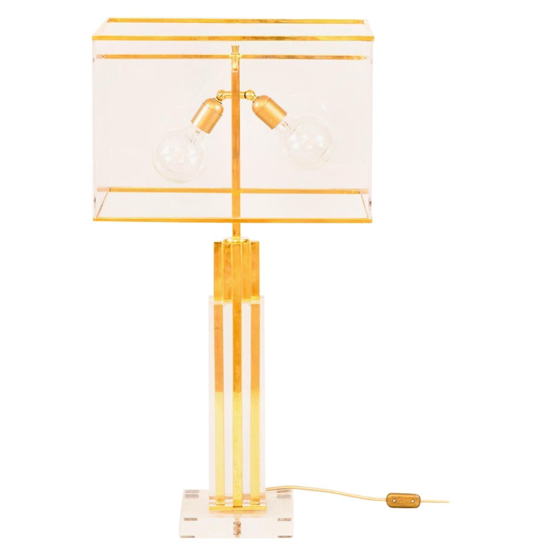 Romeo Rega, Lamp in Lucite and Gilt Brass, 1970s
