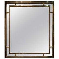 Late 20th Century Rectangular Gilded Brass Italian Mirror, 1970