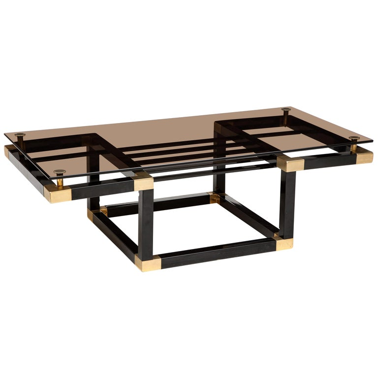 Romeo Rega Metal Black Gold Coffee Table with Smoked Glass, Midcentury, 1980s For Sale