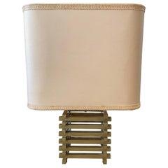 Romeo Rega Mid-Century Modern Brass Italian Squared Table Lamp, circa 1970