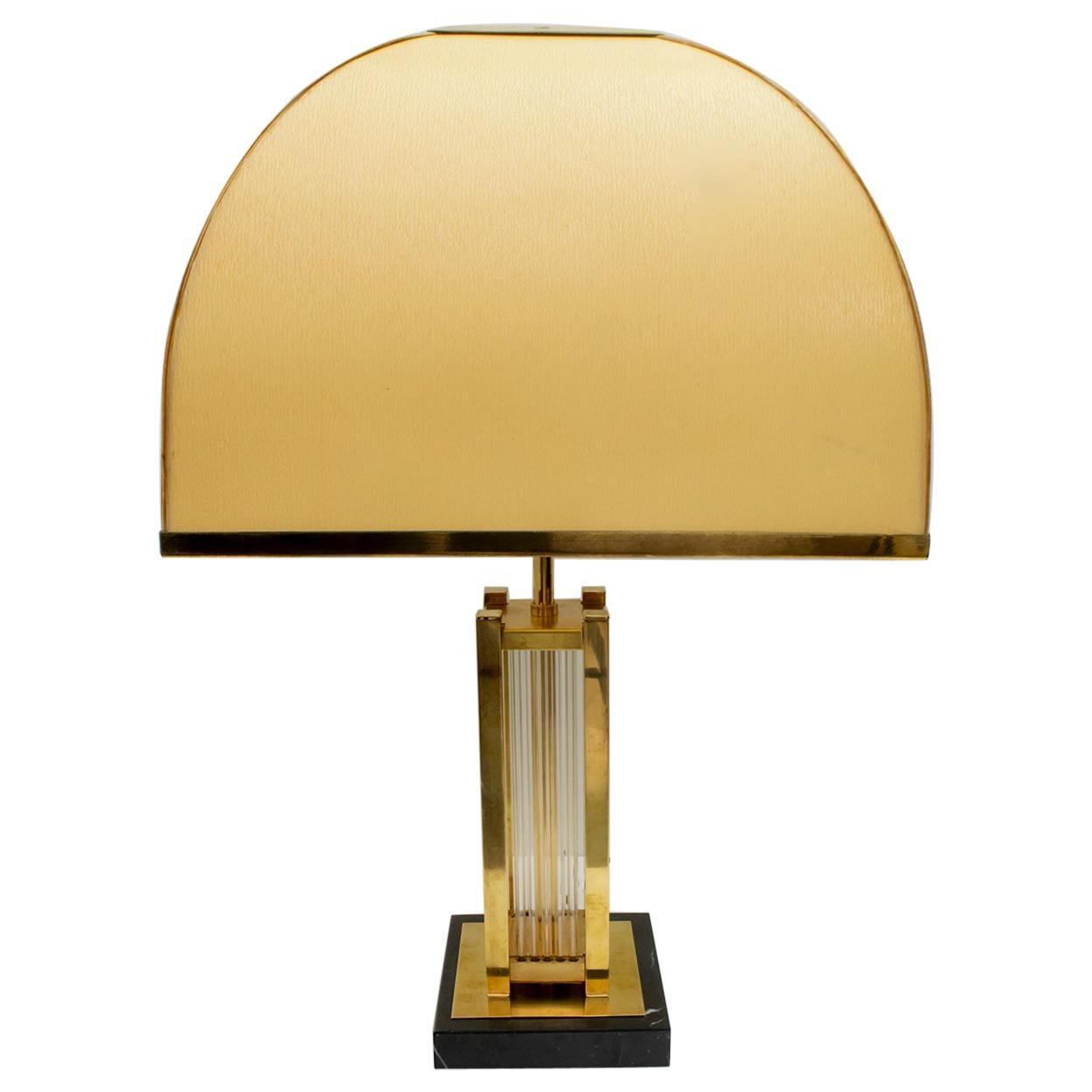 Romeo Rega Mid-Century Modern Italian Brass and Glass Table Lamp, 1970s
