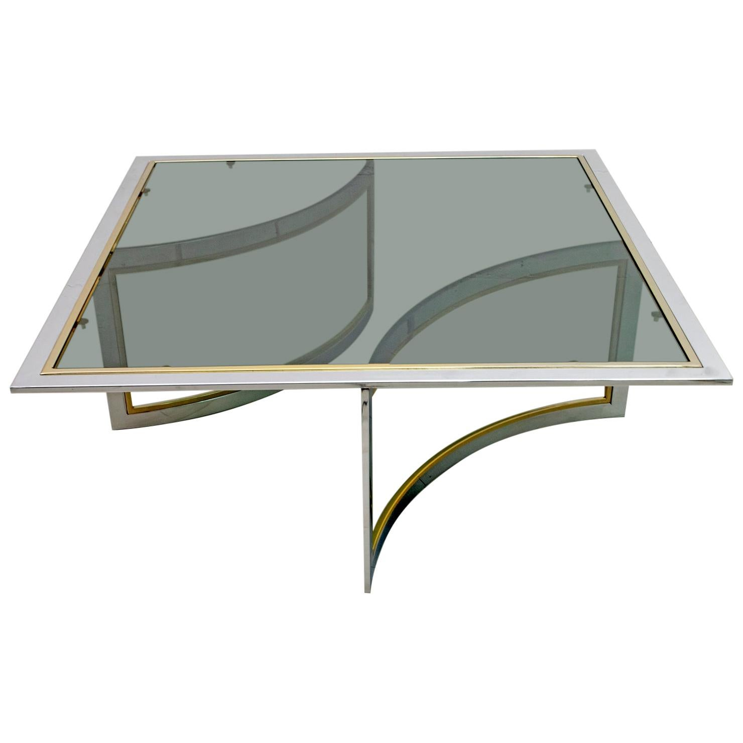Romeo Rega Mid-Century Modern Italian Chrome and Brass Coffee Table, 1970s