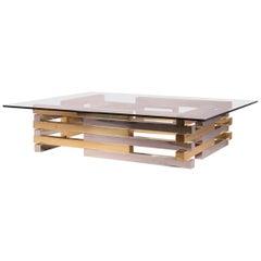Romeo Rega Modern Table Coffee Chrome Metal Solid Brass Gold