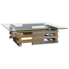 Romeo Rega Modern Table Coffee Chrome Metal Solid Brass Gold Square Sculpture
