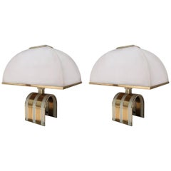 Romeo Rega, Pair of Brass and Metal Midcentury Table Lamps, Italy, 1970