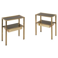 Romeo Rega Pair of Night Tables in Brass and Mirrored Glass, 1970s