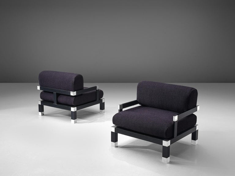 Romeo Rega, set of two lounge chairs, wood, metal, purple fabric, Italy, 1960s.  This geometric pair of club chairs with solid wooden frames and new deep purple colored 'Outback' fabric by Kvadrat is designed by Romeo Rega. Due to the fact that