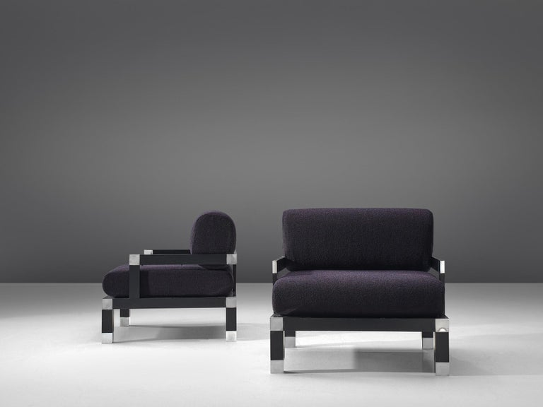 Italian Romeo Rega Pair of Reupholstered Lounge Chairs in Purple Fabric For Sale