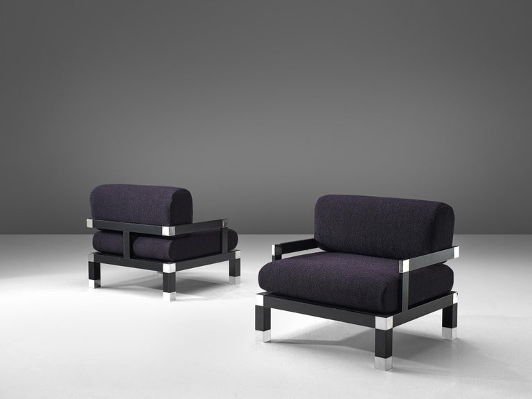 Mid-20th Century Romeo Rega Pair of Reupholstered Lounge Chairs in Purple Fabric For Sale