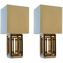 Romeo Rega Pair of Table Lamps, Chrome and Brass with Square Shades